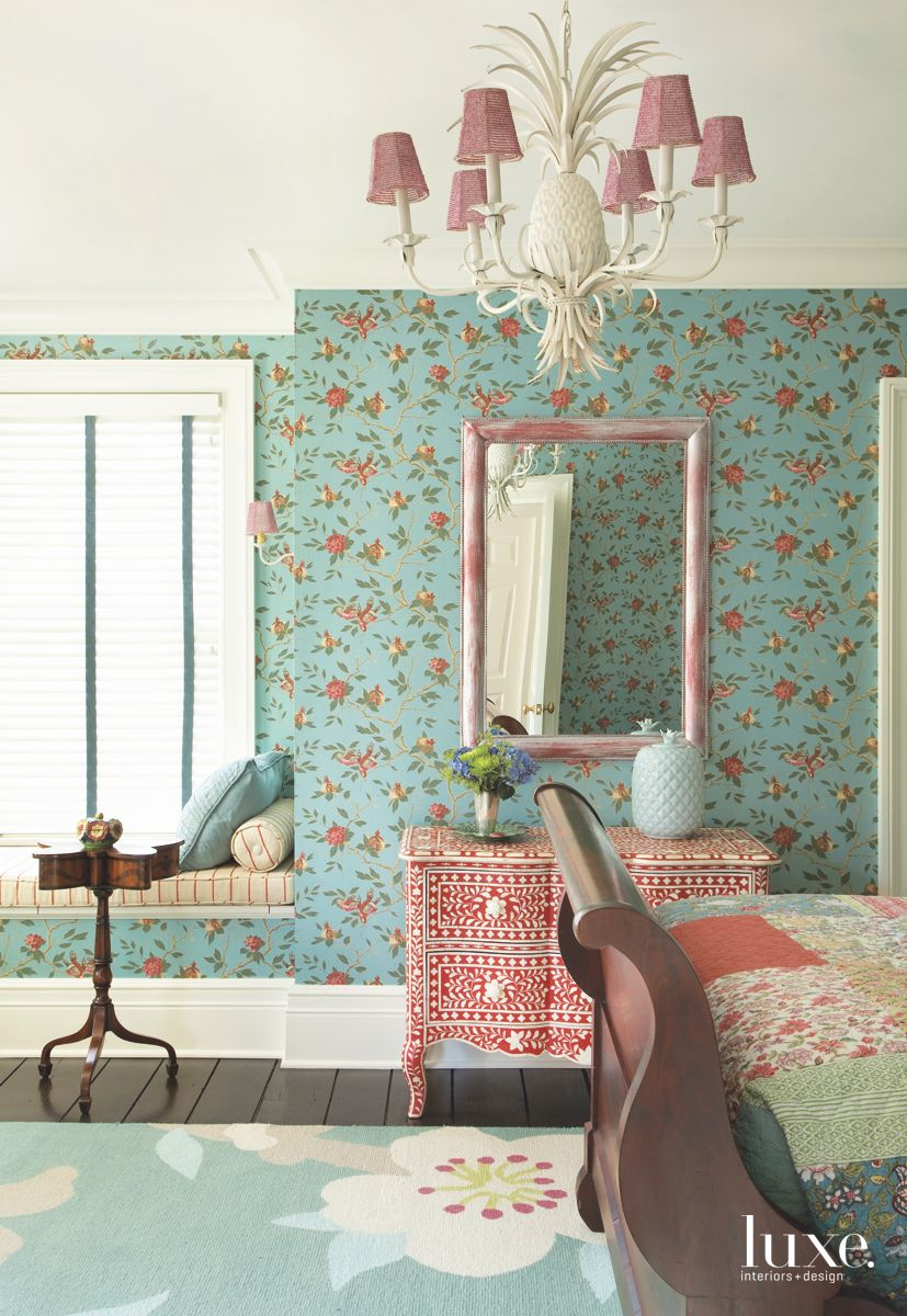 Turquoise Wallpaper Guest Bedroom with Pink Accented ...