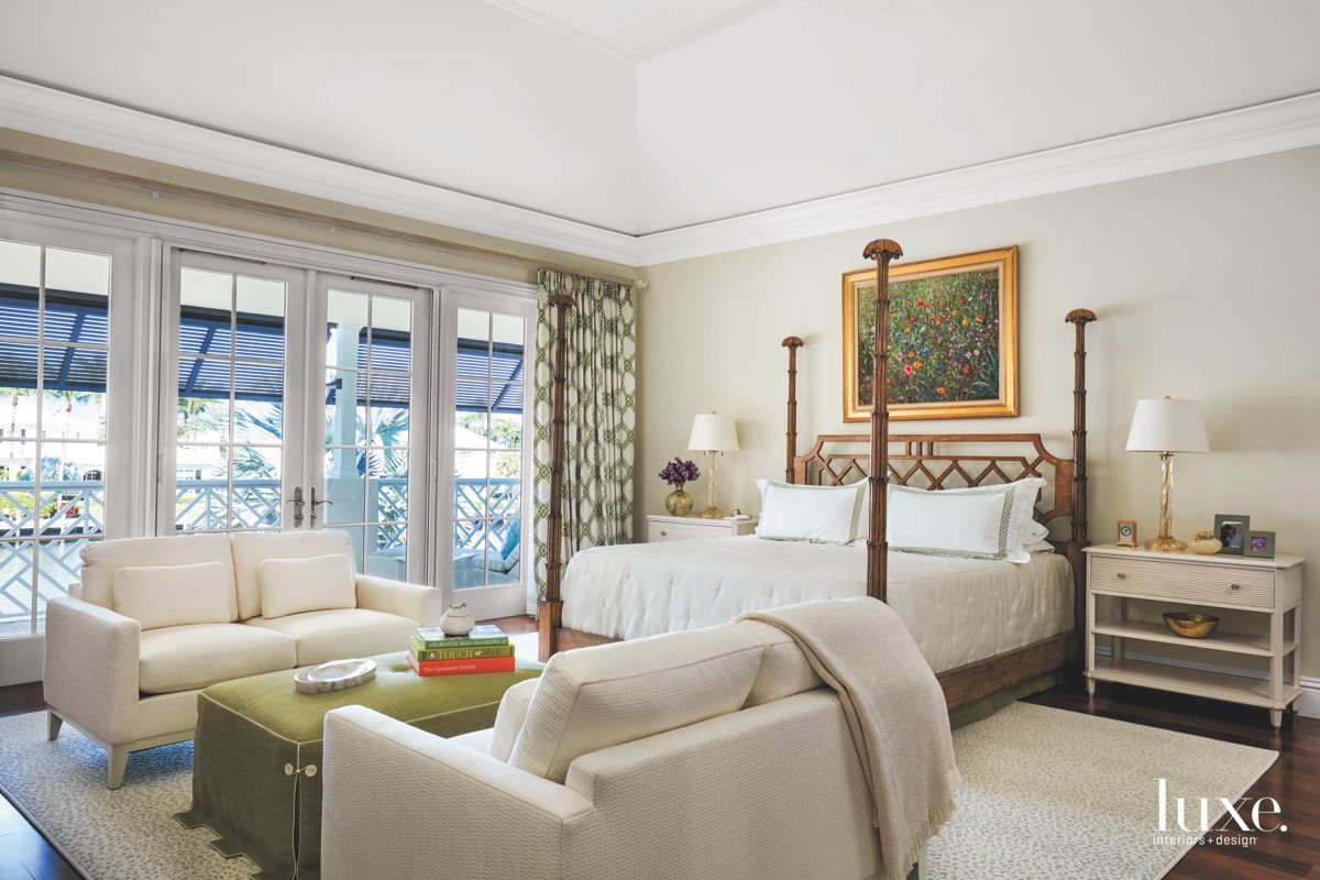 Framed Artwork Master Bedroom with Green Accents