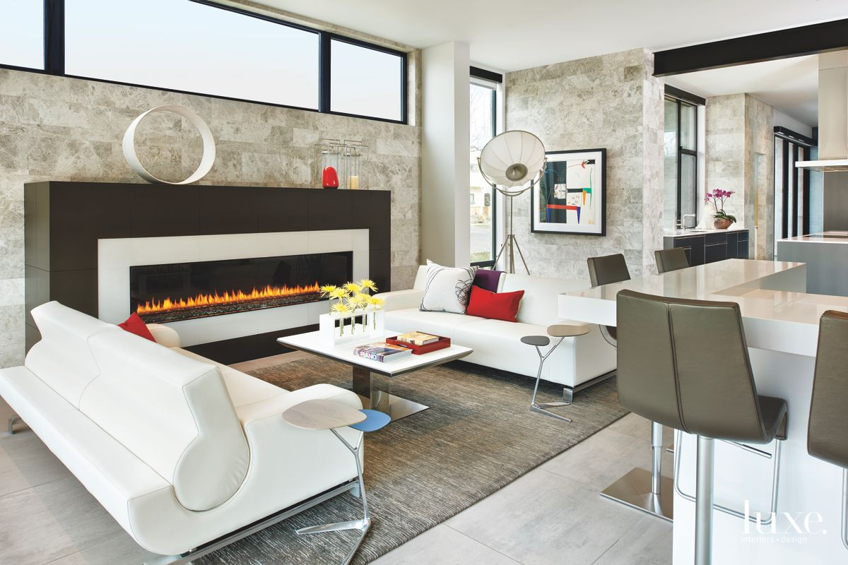 Stunning Long Fireplace Living Room with Modern White Sofas and Artwork