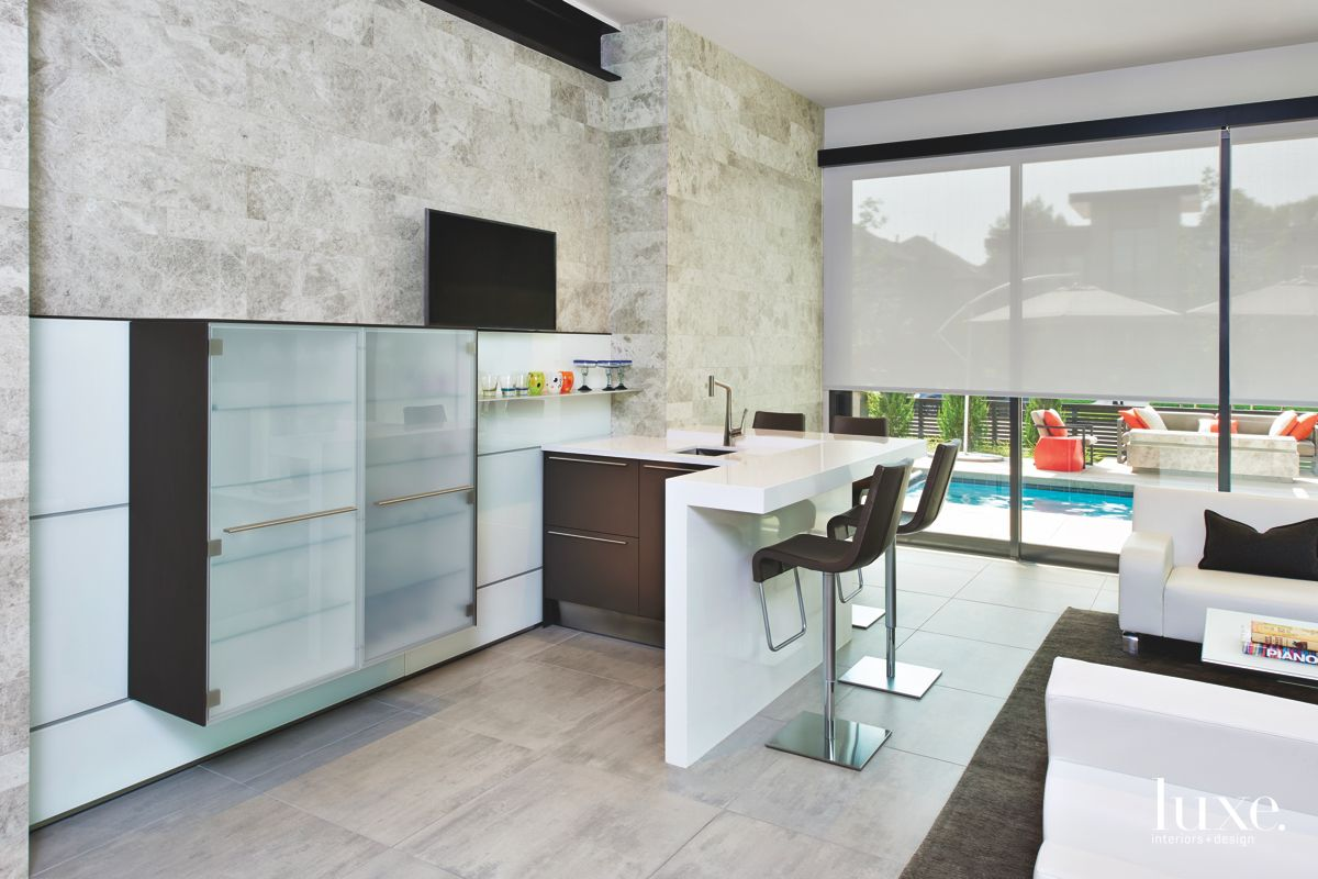 Corner Bar with Television and Window Screen Pool View