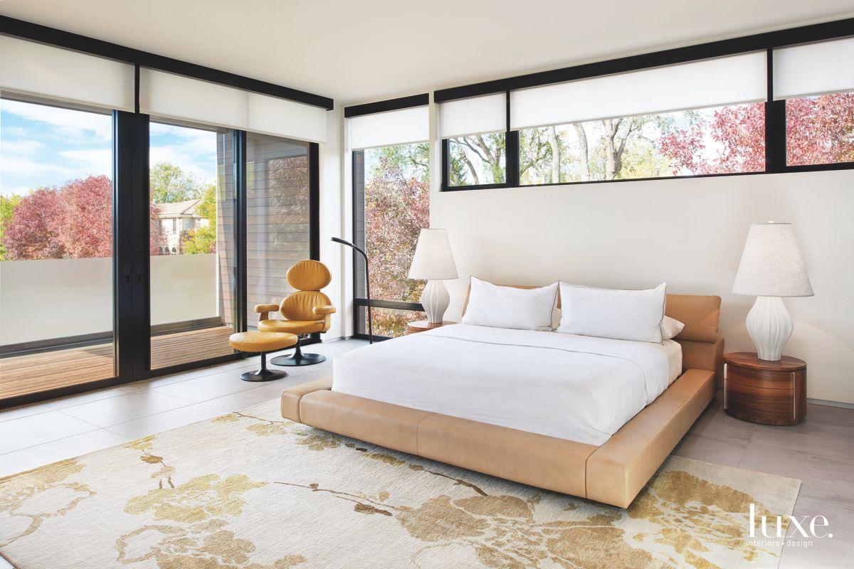 Sliding Door Master Bedroom with Modern Furniture and Windows