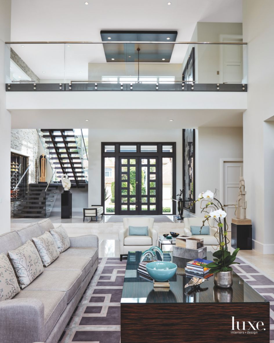 Double Height Living Room with Interior Bridge, Glass ...