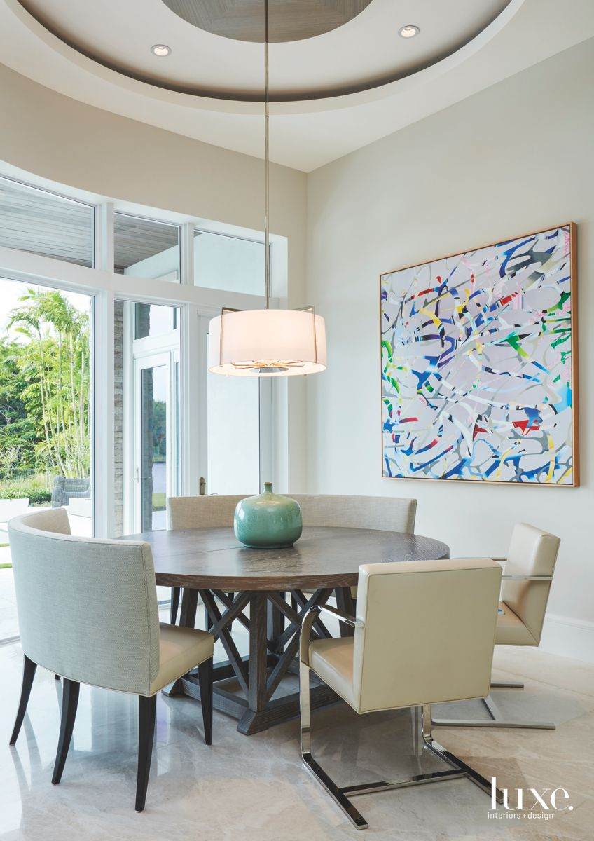 Abstract Art Breakfast Nook with Circular Ceiling Hanging Pendant