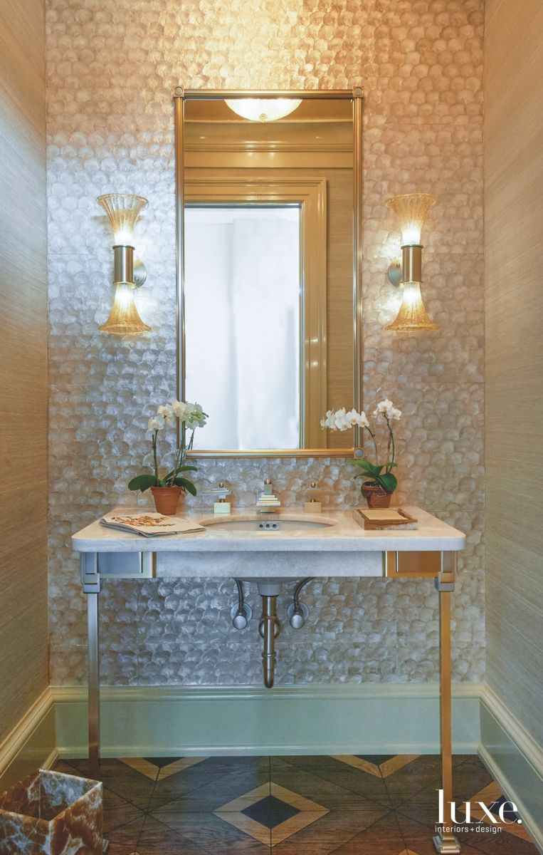 Mother of Pearl Wallcovering Powder Room in Coastal Retreat