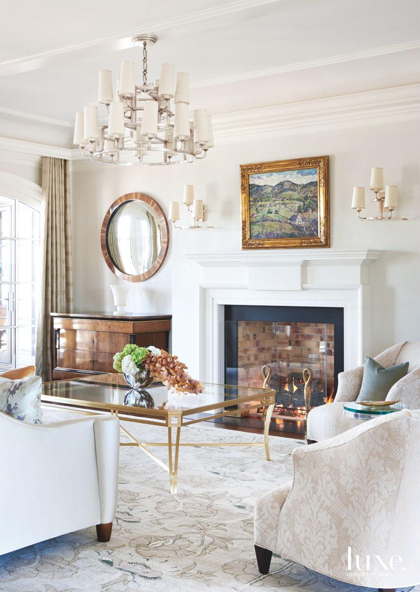 Living Room with Biedermeier Furnishings and Fireplace
