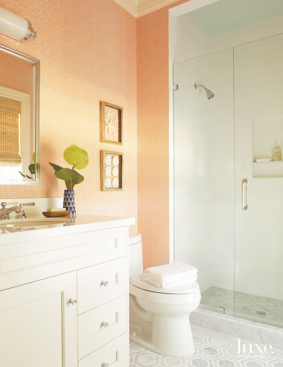 Opposite Color Blue and Orange Guest Bathroom with Shower