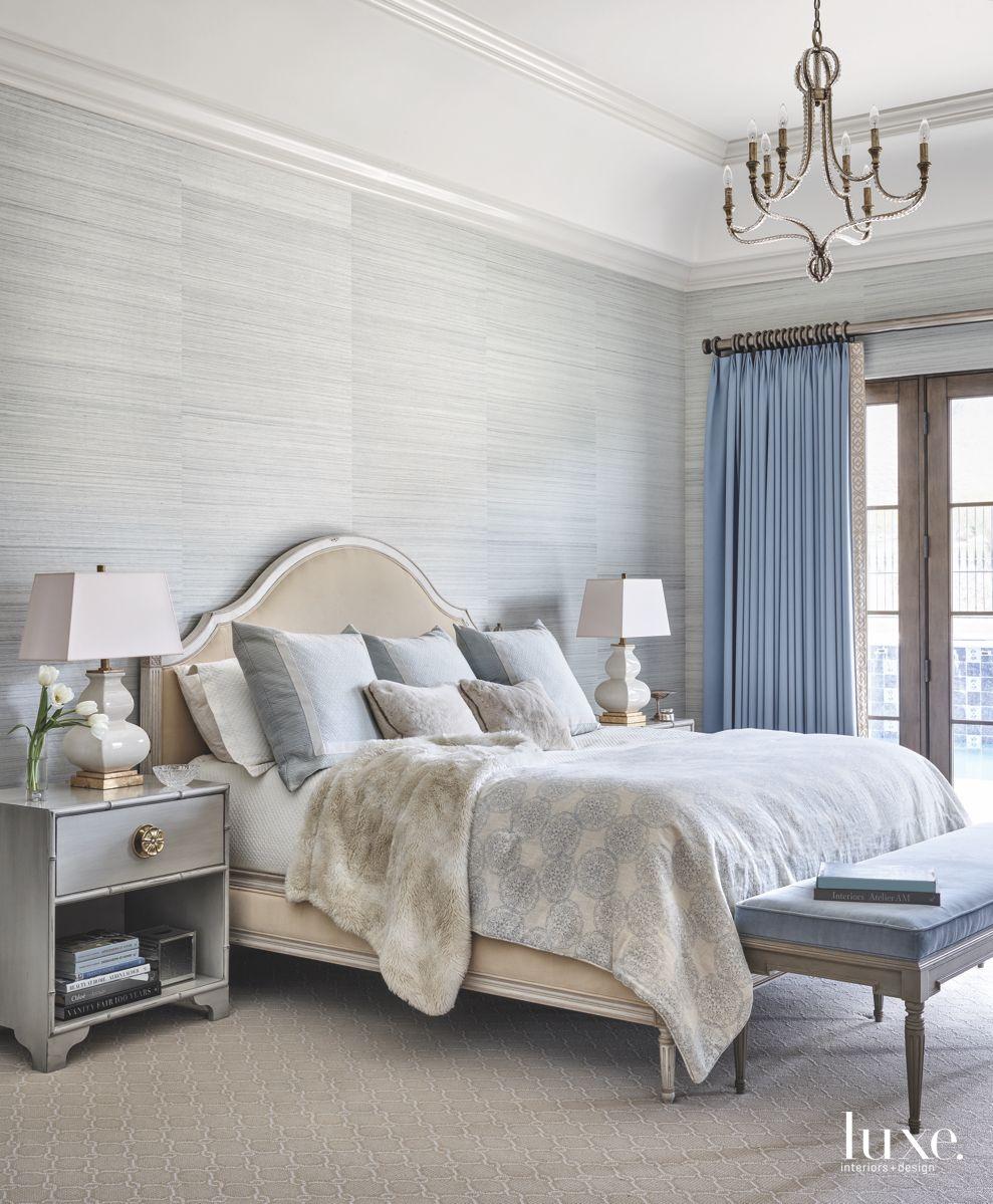 Calming Blue Master Bedroom with Chandelier