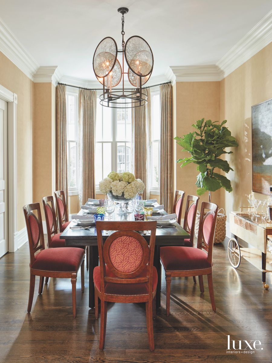 Four Side French Chandelier with Red Chairs Dining Room and ...