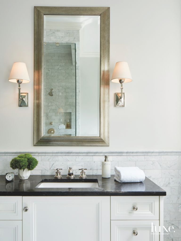 Light Green Blue Master Bathroom Vanity with Stone - Luxe Interiors ...
