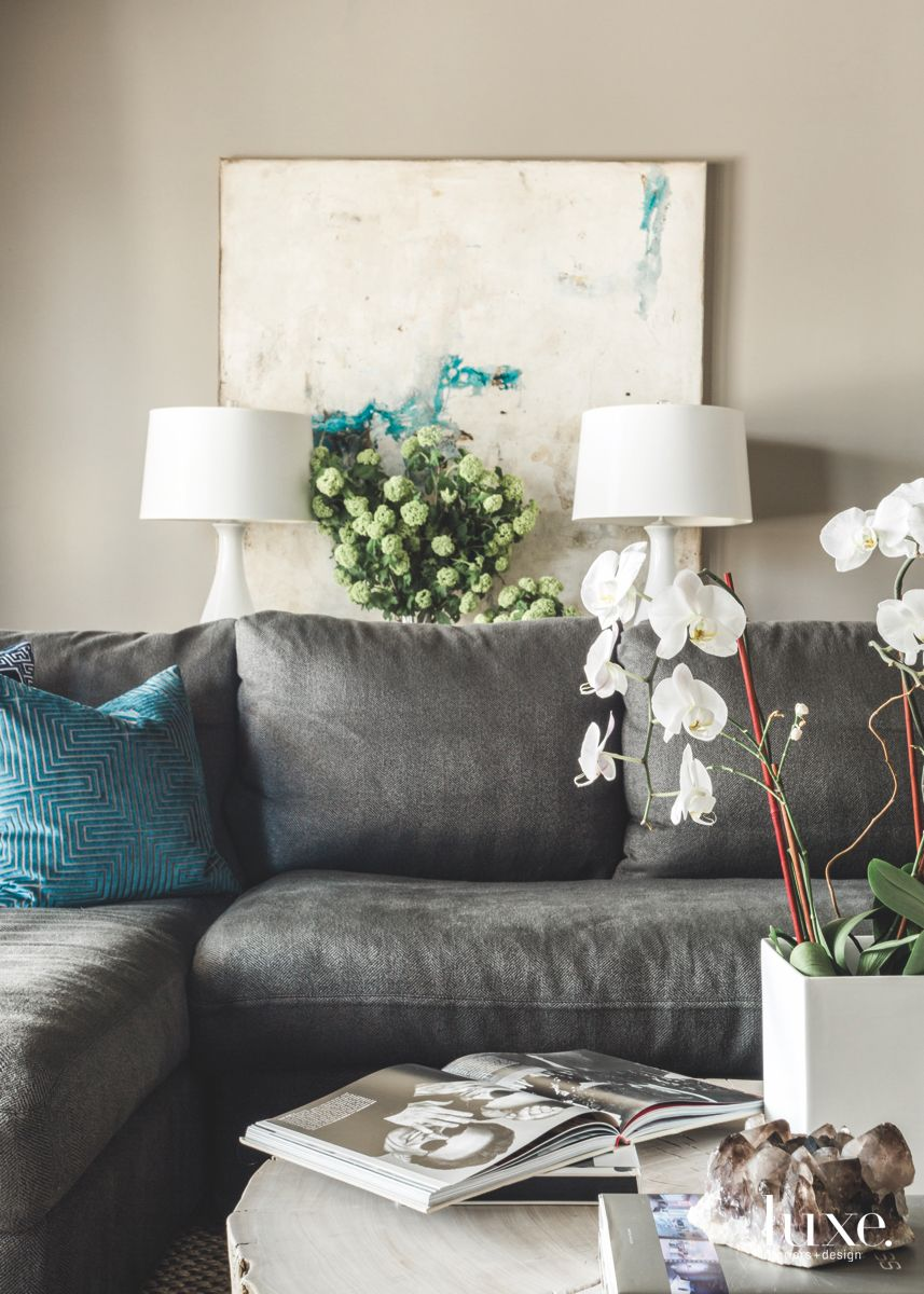 Gray Sofa Den with Lamps and Magazine