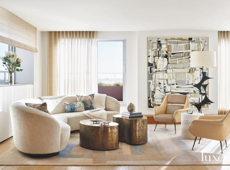 Custom Artwork Neutral Living Room with Brutalist Features and ...