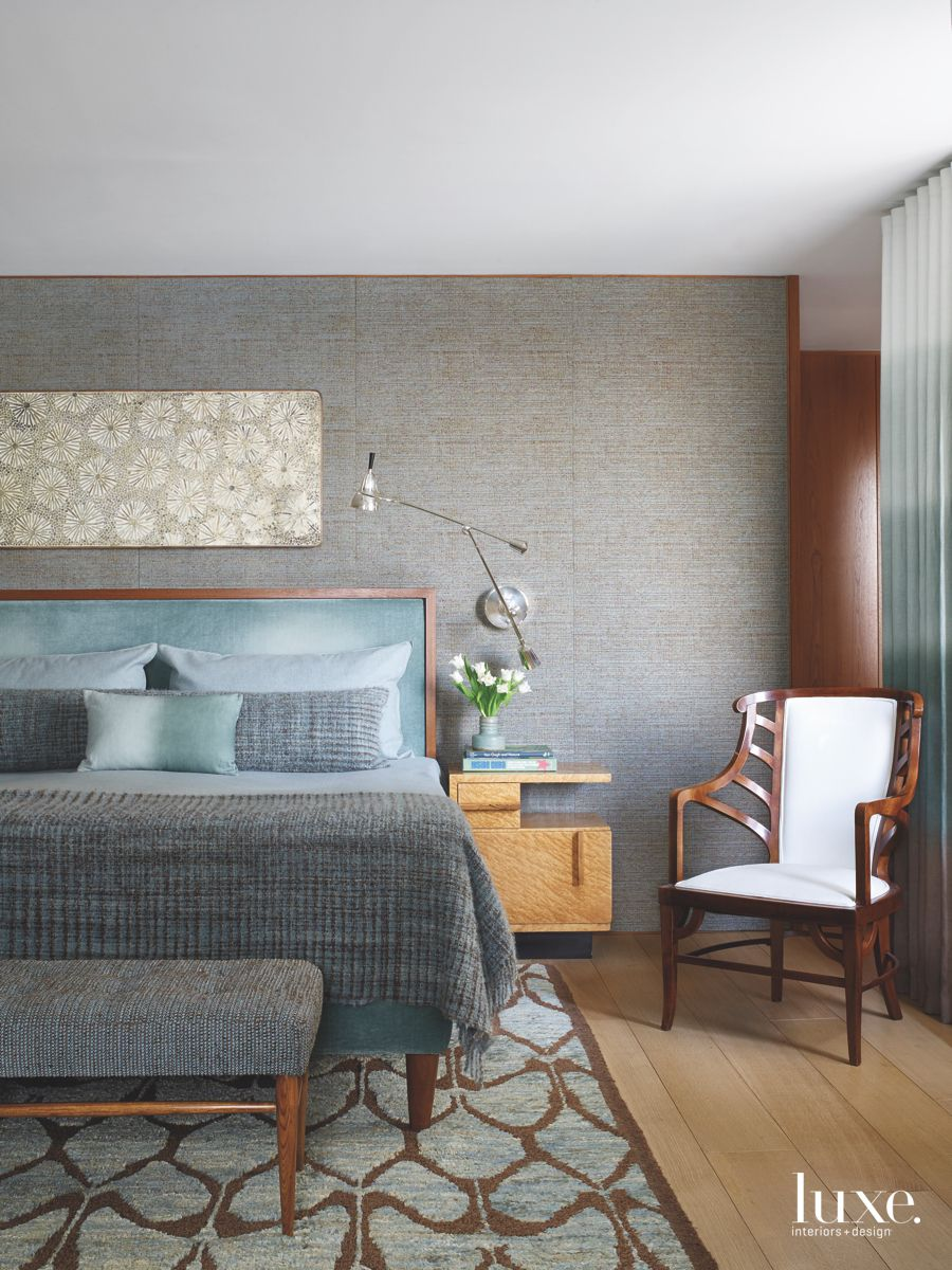 Patterned Rug Master Bedroom Covered in Linens with