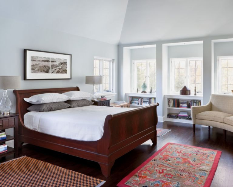 Neutral Contemporary Master Bedroom with Antique Rugs - Luxe ...