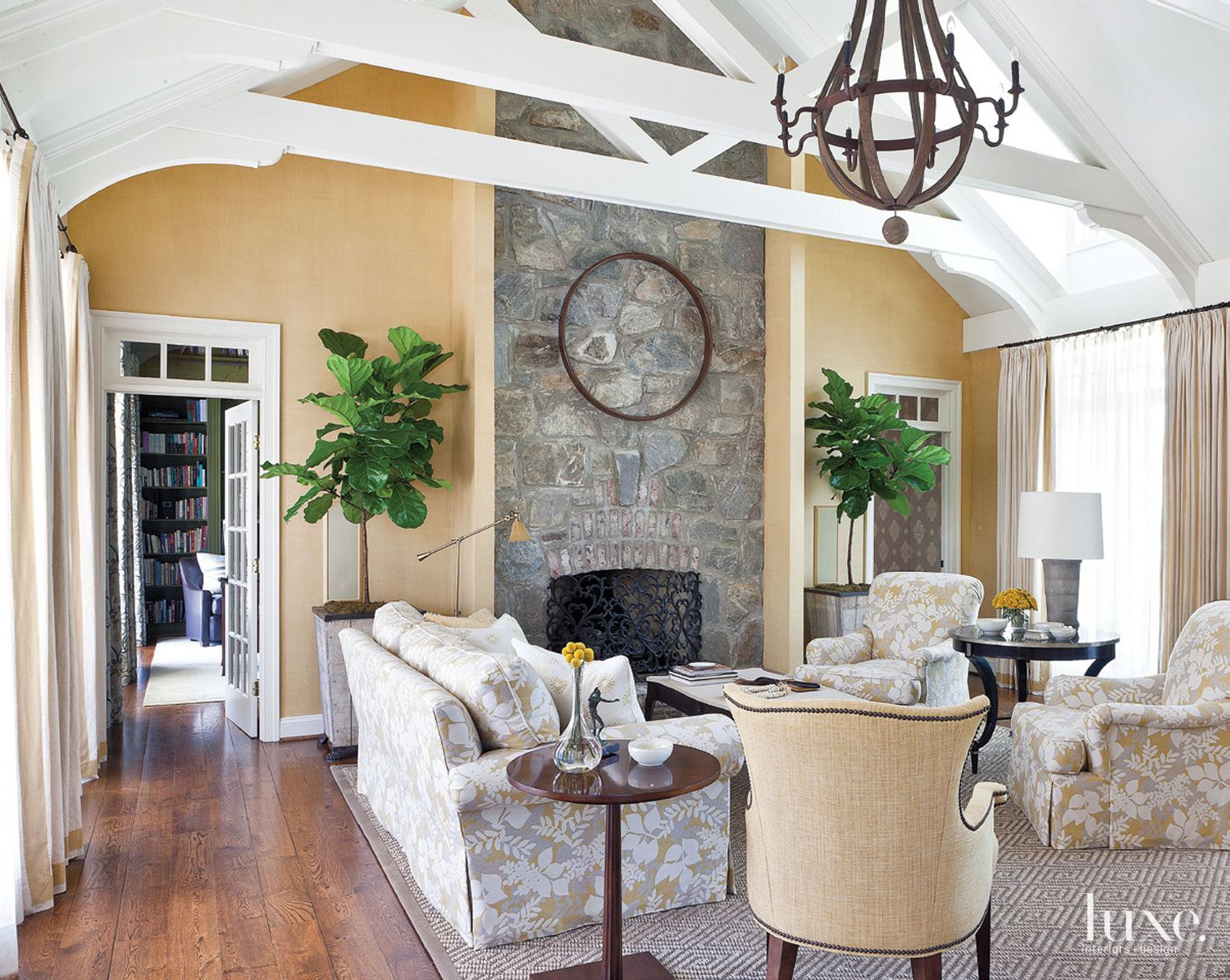 Contemporary Gold Living Room with Vaulted Ceiling