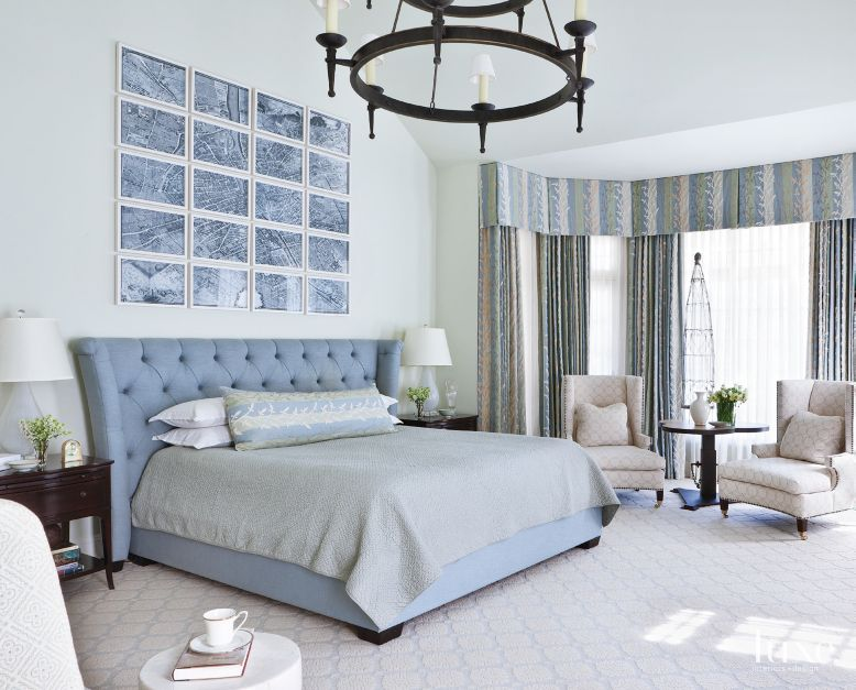 Paris Map Powder Blue Master Bedroom Luxe Interiors Design