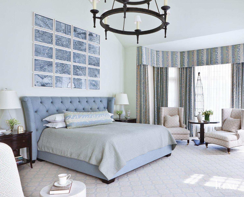 Paris Map Powder Blue Master Bedroom