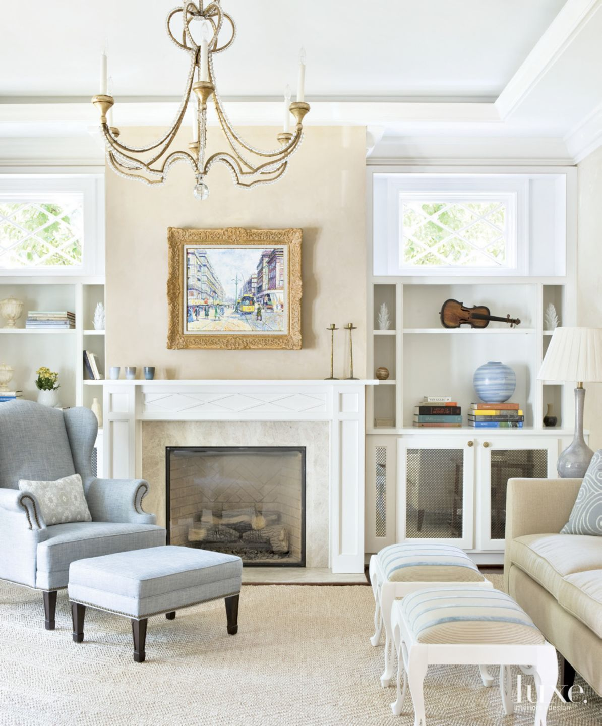 Traditional Neutral Living Room with White and Cream Accents