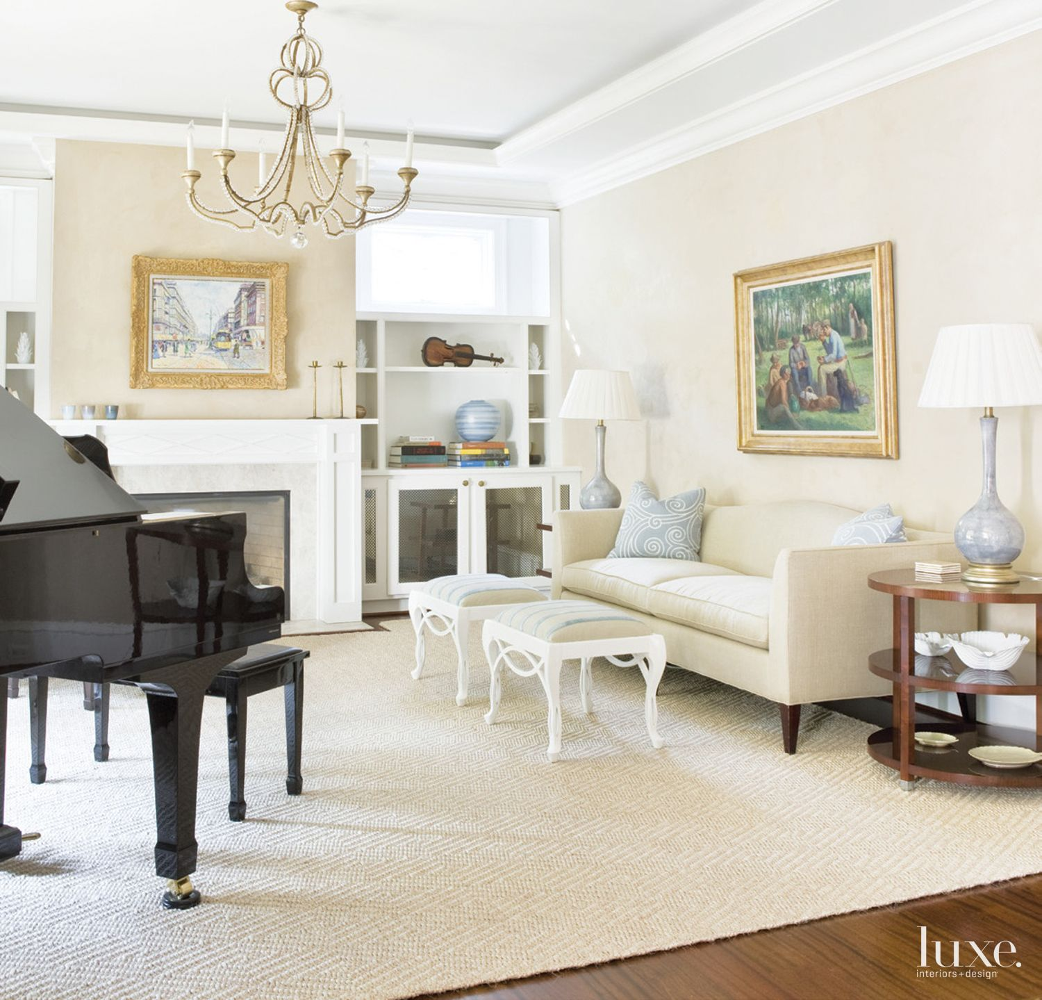 Traditional Cream Living Room with Blue Accents