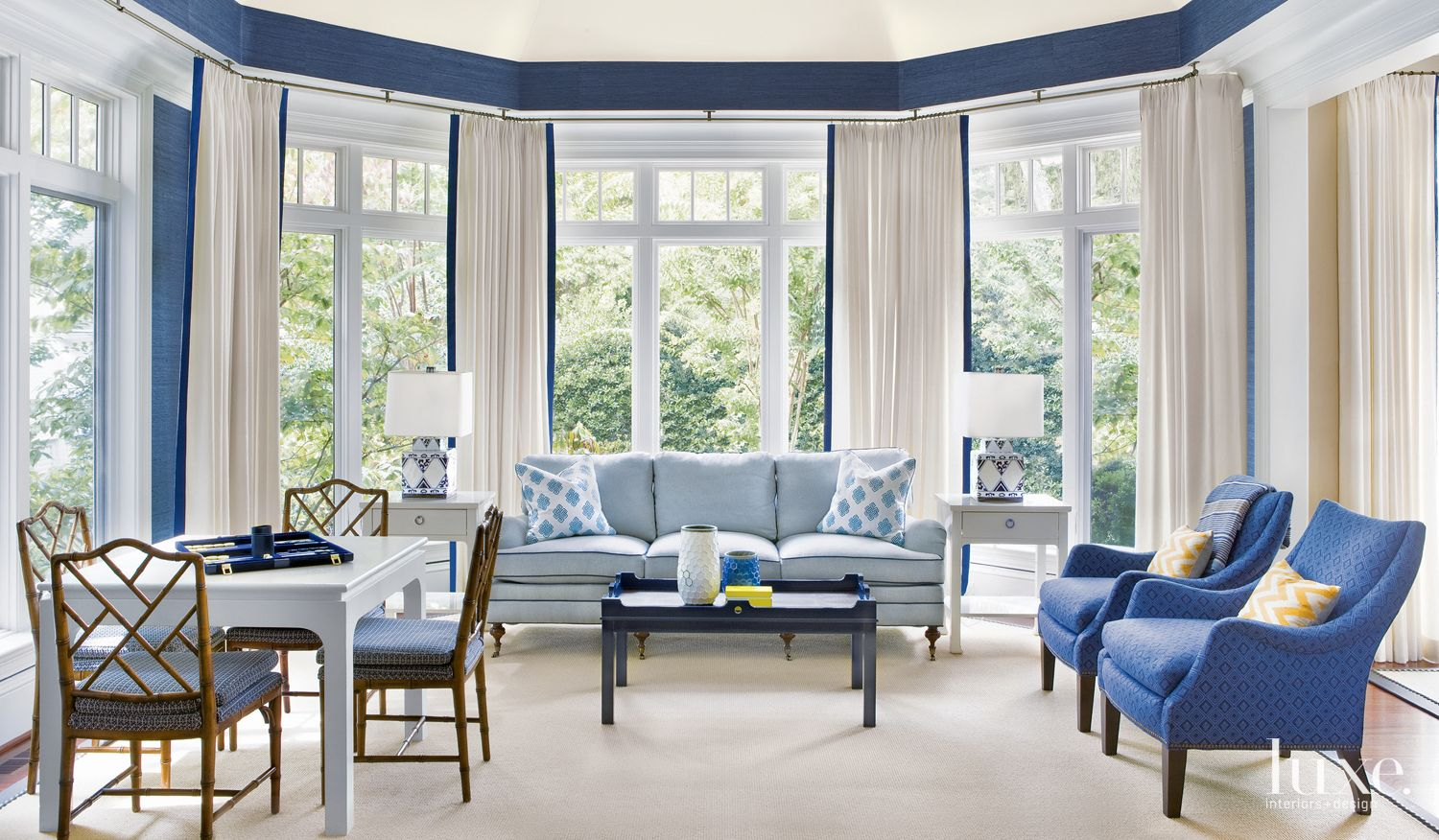 Traditional Sunroom with Blue Accents