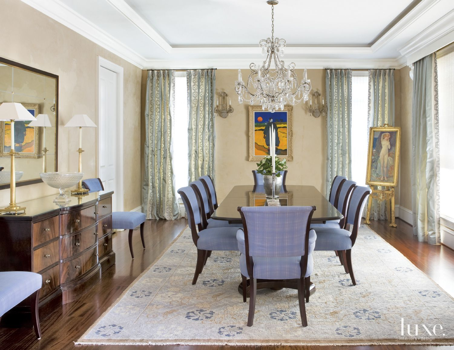 Traditional Cream Dining Room with Periwinkle Chairs