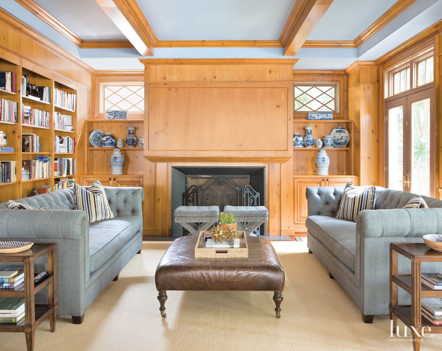 Traditional Family Room with Pine-Paneled Walls