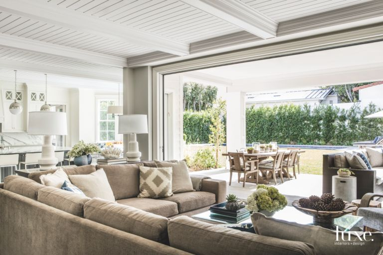Indoor Outdoor Family Room Opening to the Outside Covered Patio ...