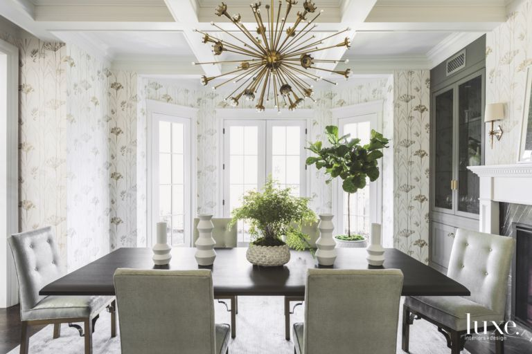 Flower Wallpaper Formal Dining Room With Burst Chandelier And