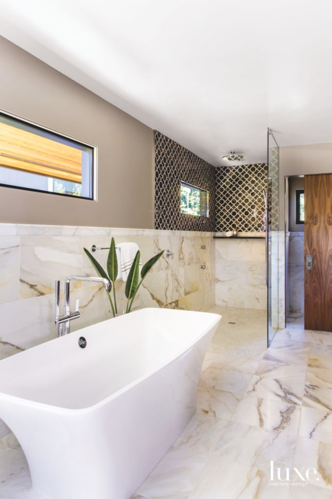Black White and Warm Gray Master Bathroom with Large Tub - Luxe ...