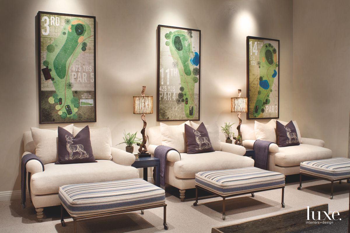 Green Poster Artwork Golf Lounge with Three Chairs, Ottomans, and Lamps