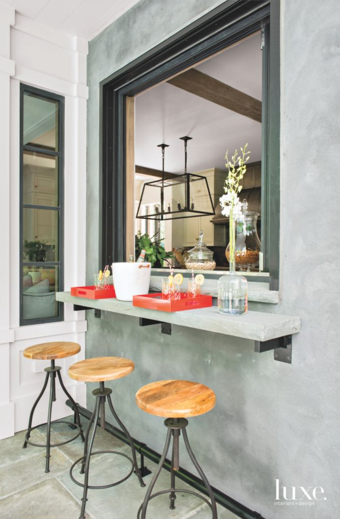 stone slab terrace bar with kitchen opening luxe interiors design - Stone Slab Dining Room Decorating