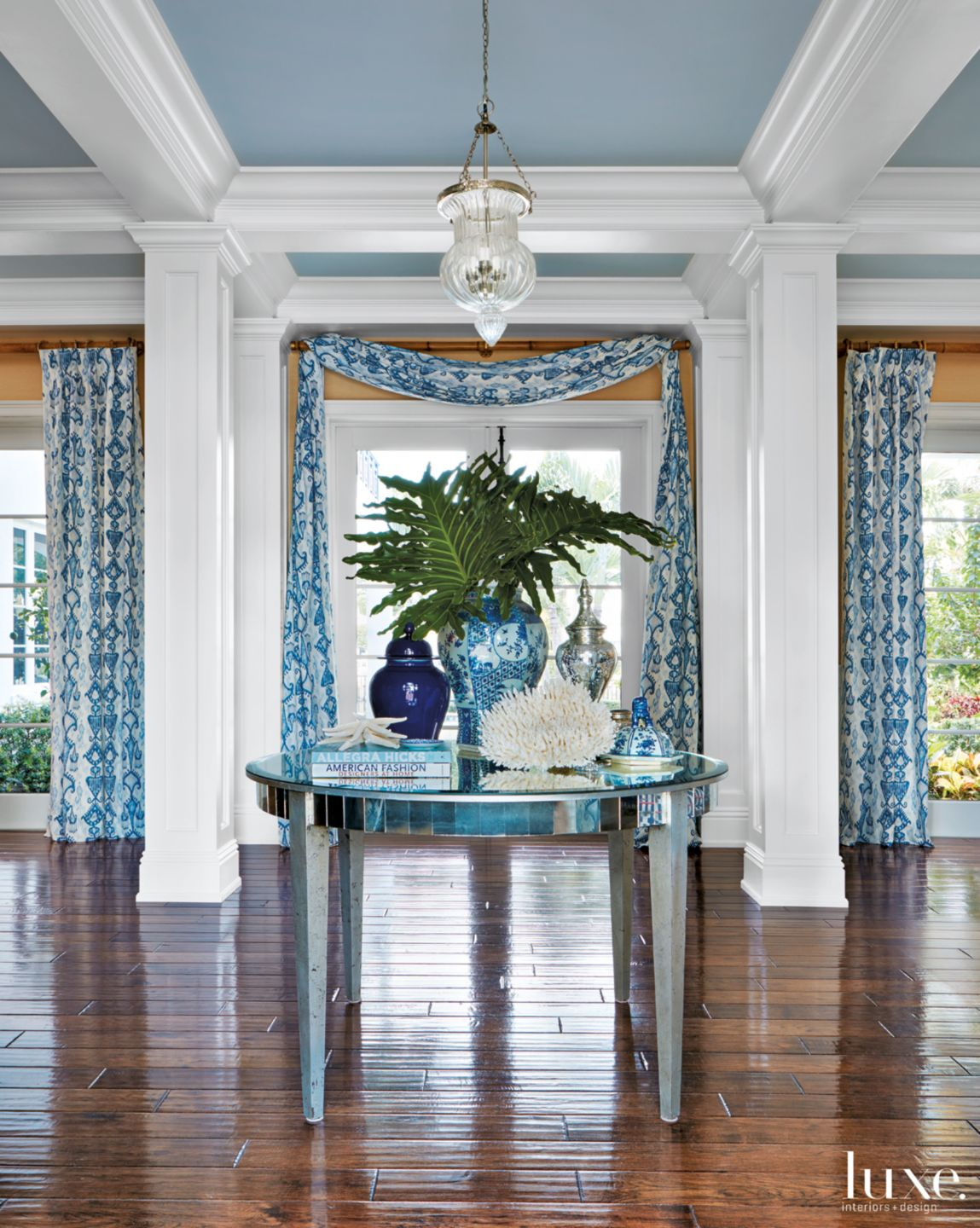Mediterranean Blue Foyer with Ikat Draperies
