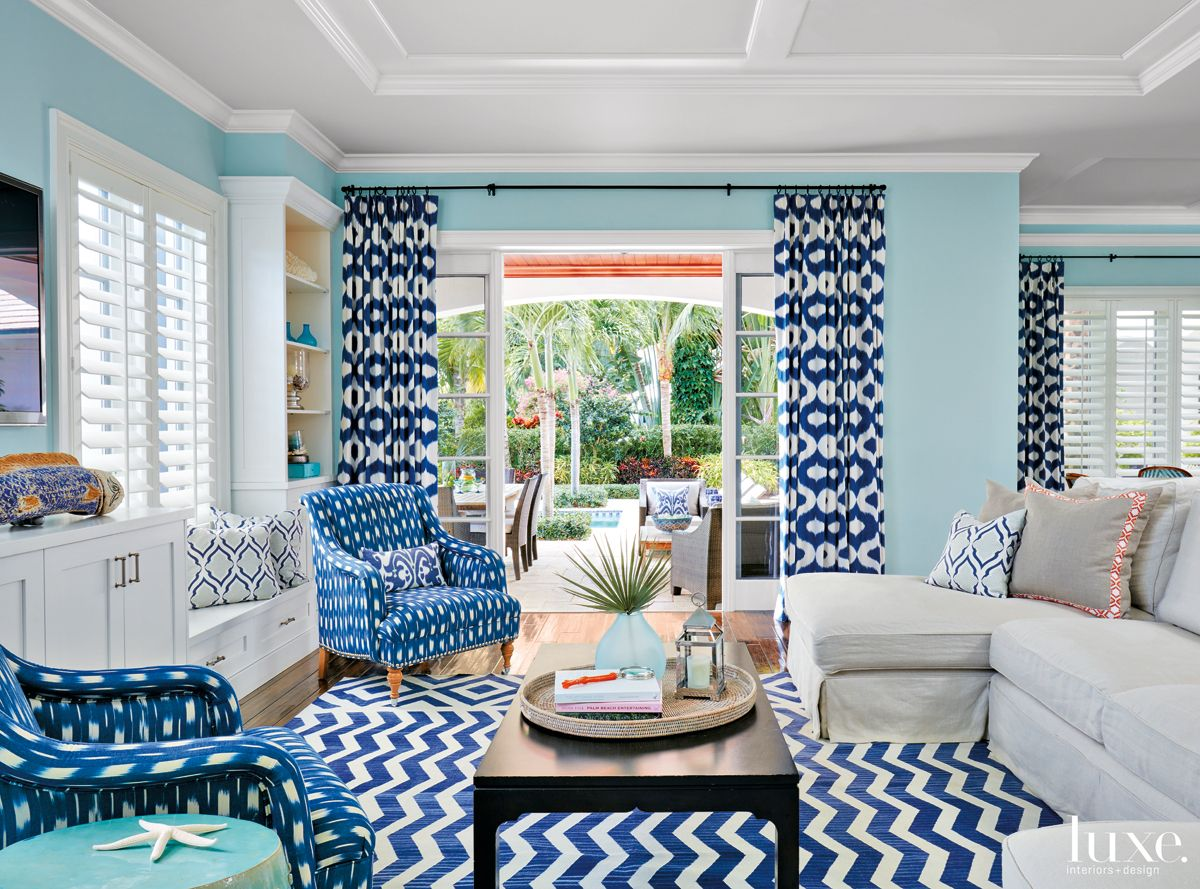 Mediterranean Blue Family Room with Bold Blue-and-White Patterns