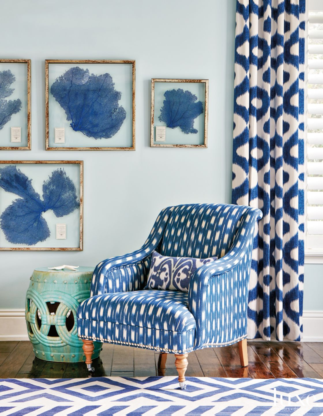 Mediterranean Blue Family Room Vignette with Garden Stool