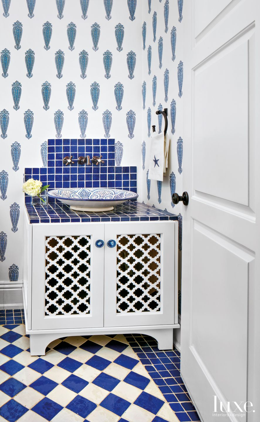 Mediterranean White Bathroom with Blue Moroccan Accents