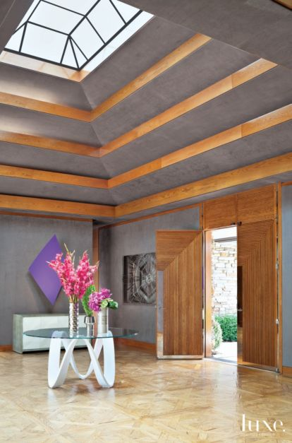 Modern Gray Entry With Scalloped Ceiling Luxe Interiors