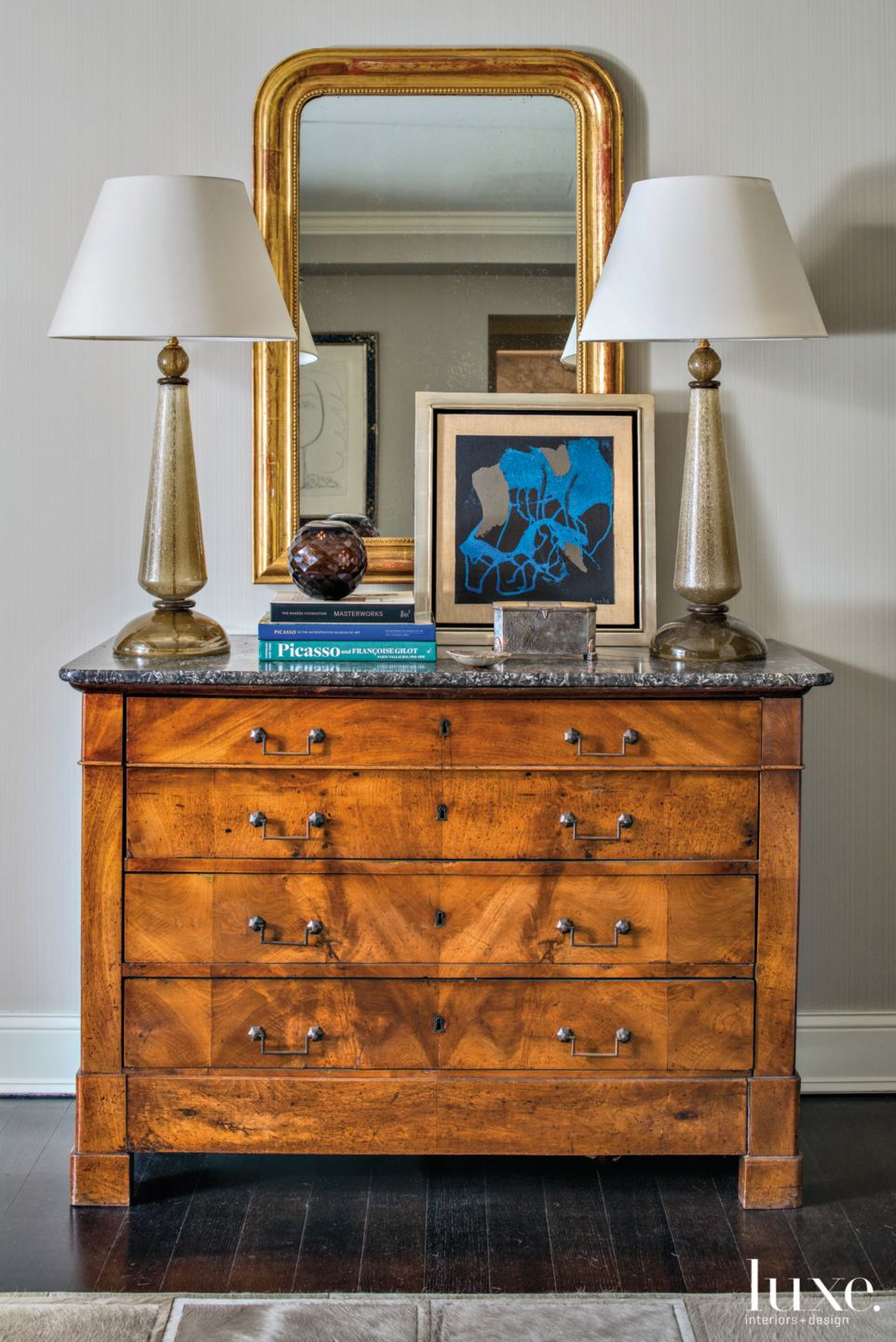 Contemporary Neutral Foyer Vignette with Antique Chest