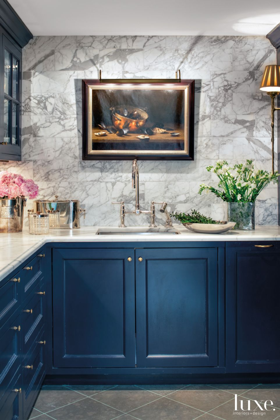 Contemporary Blue Kitchen with Gray Marble Wall
