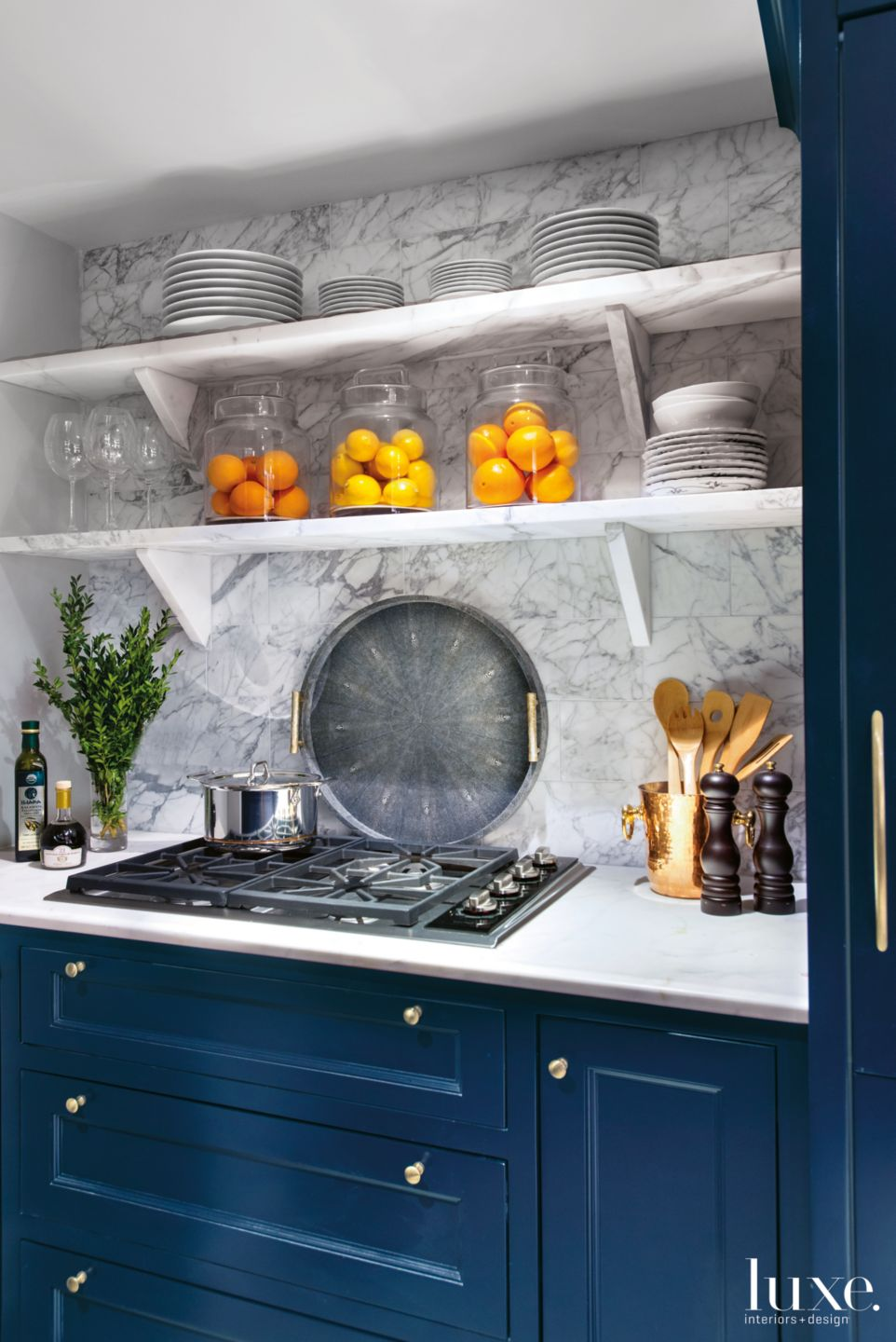 Contemporary Blue Kitchen with Open Shelving