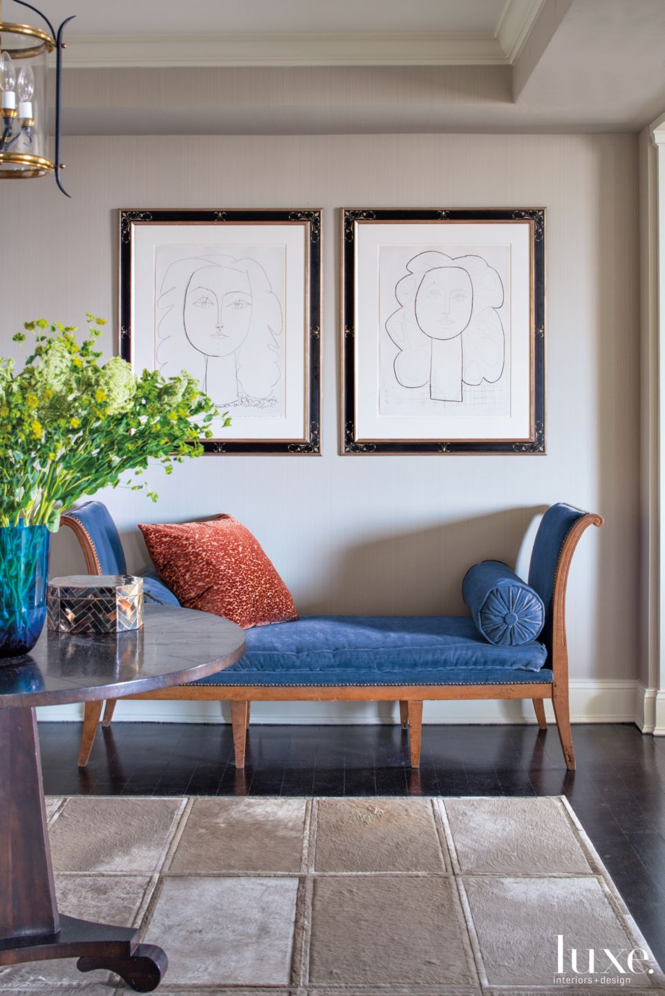 Contemporary Neutral Foyer Vignette with Antique Settee