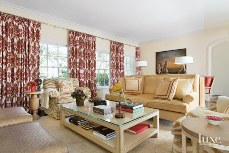 Traditional Neutral Family Room With Red Accents