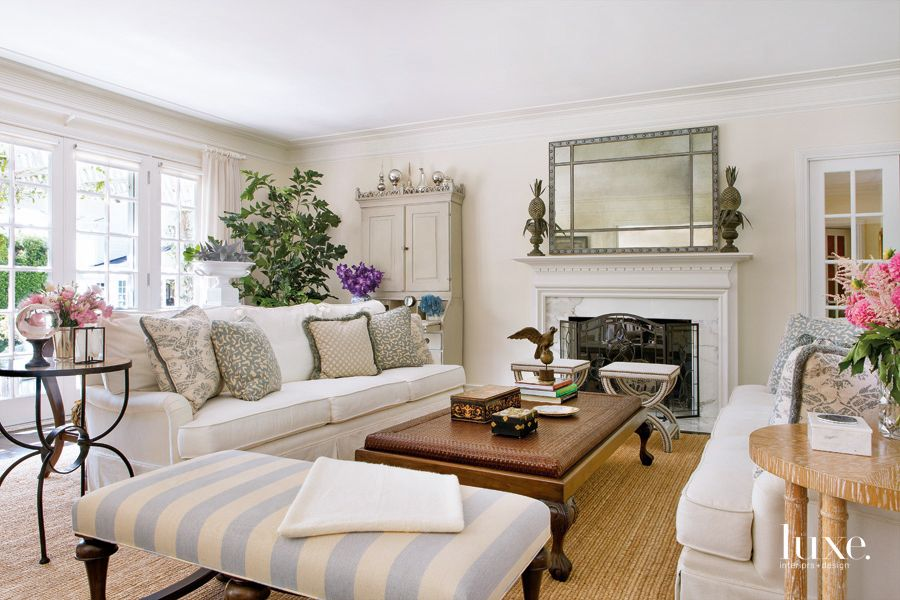 Traditional Neutral Living Room with 18th-Century Secretary