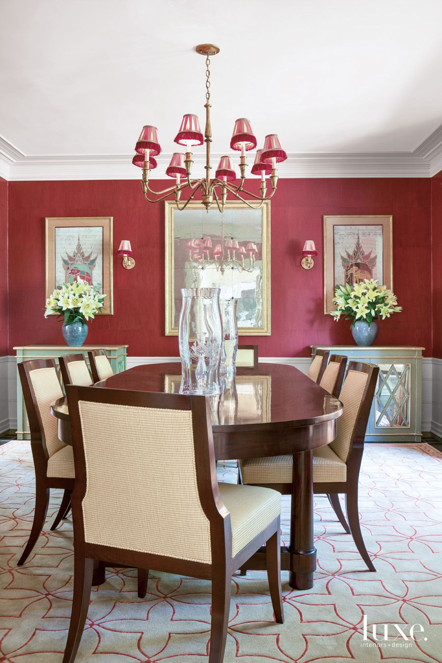Traditional Red Dining Room with Thai Artwork