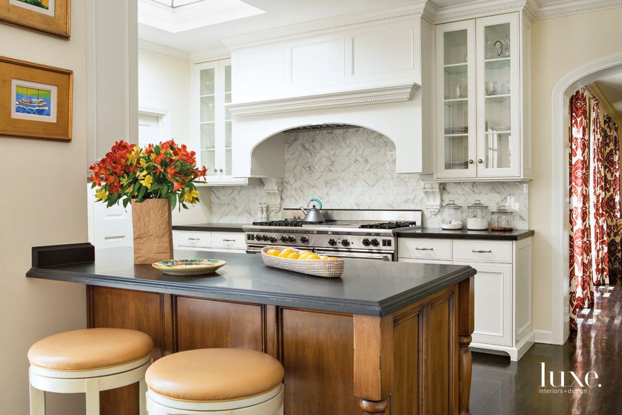 Traditional White Kitchen with Skylight