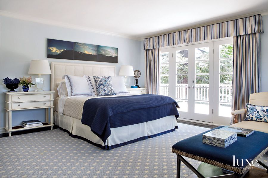 Traditional Blue Bedroom with Striped Drapes
