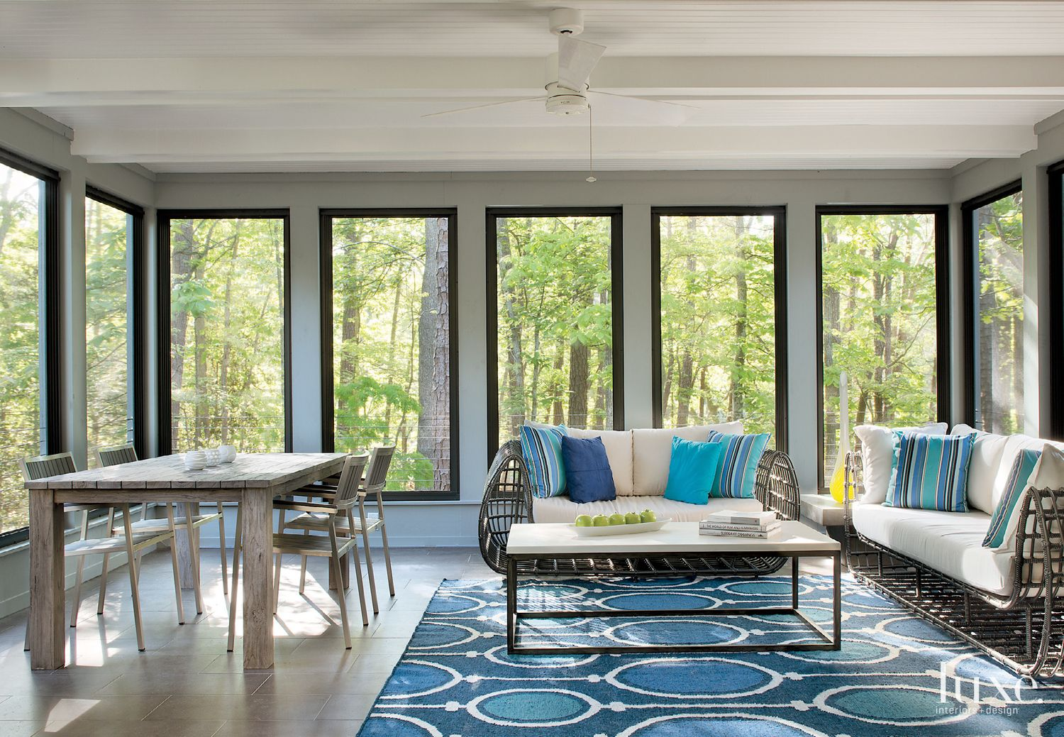 Contemporary White Porch with Reclaimed Teak Table