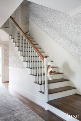 Eclectic Neutral Staircase With Magnolia Patterned Wallcovering