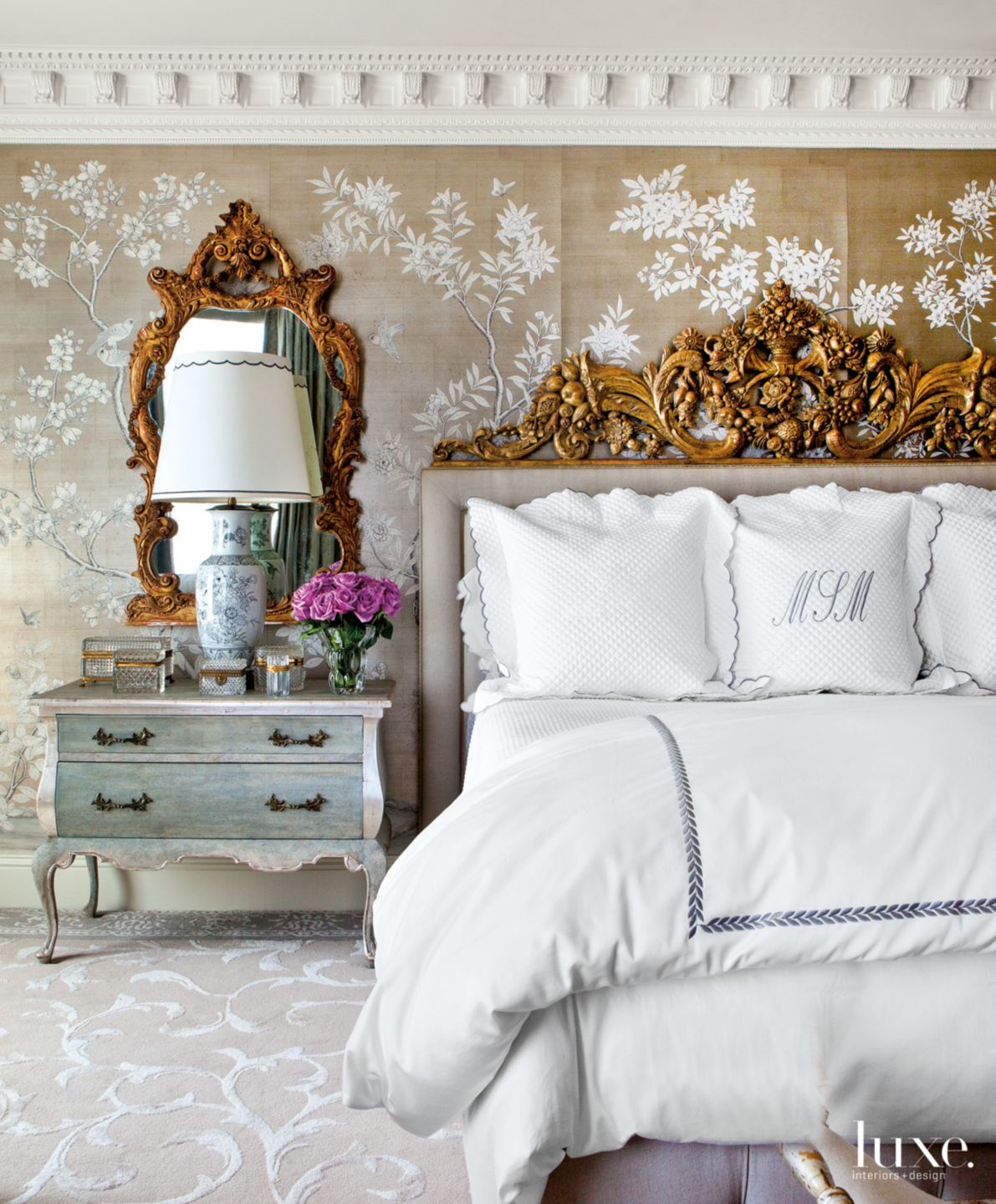 Traditional Neutral Bedroom with Carved French Headboard