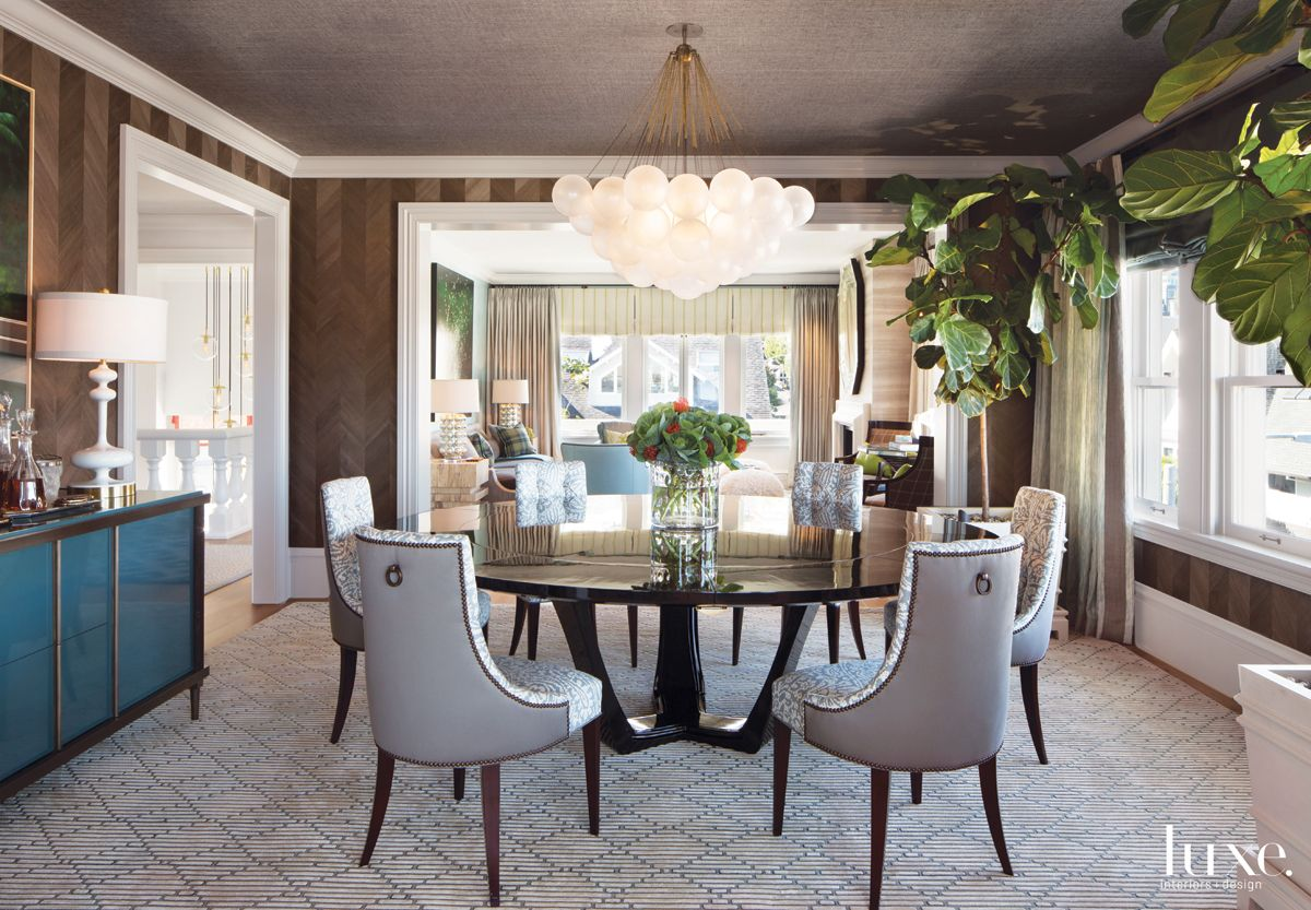 Eclectic Brown Dining Room with Fig Trees