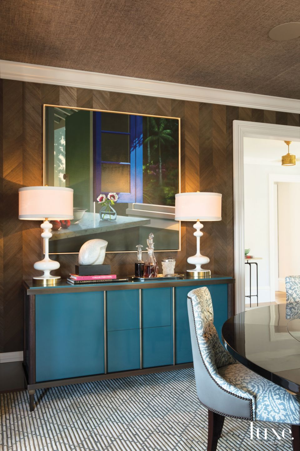 Eclectic Brown Dining Room Vignette with Blue Console