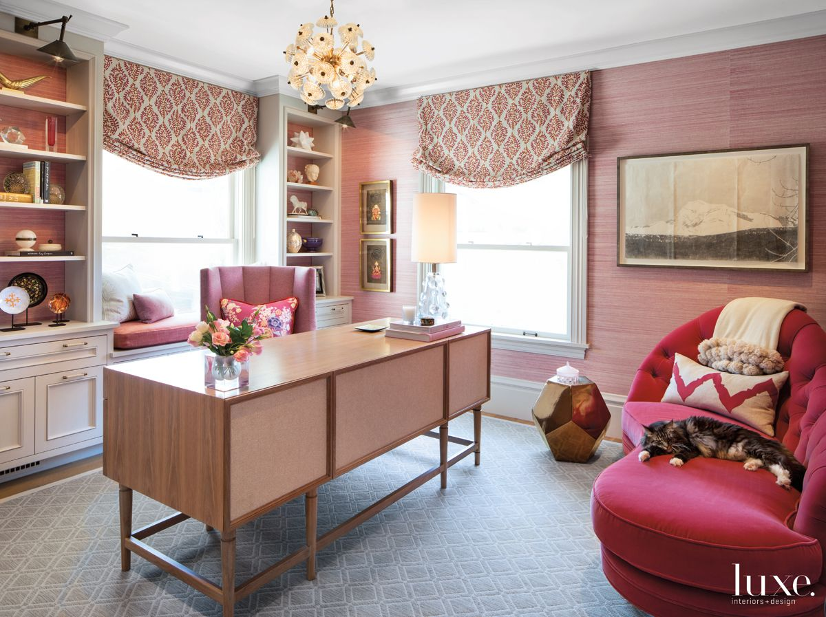 Eclectic Pink Office with Hot Pink Daybed